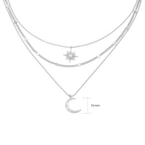 Necklace chained star & moon