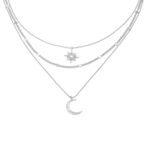 Collar chained star & moon