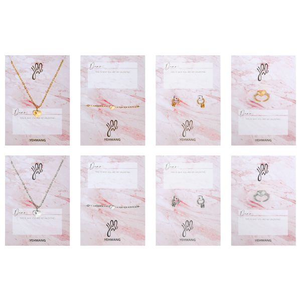 Postcard jewelry set heart light