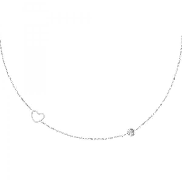 Collar de piedra natal de abril de plata
