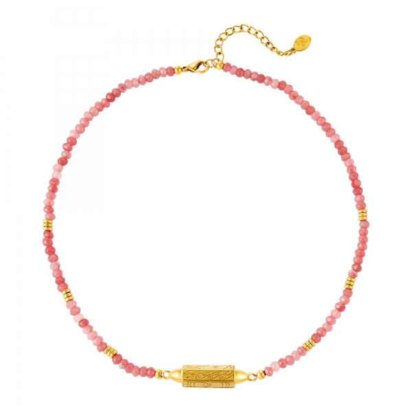 Stainless steel necklace with beads
