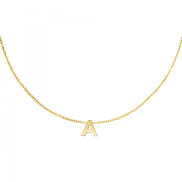 Stainless steel necklace initial a