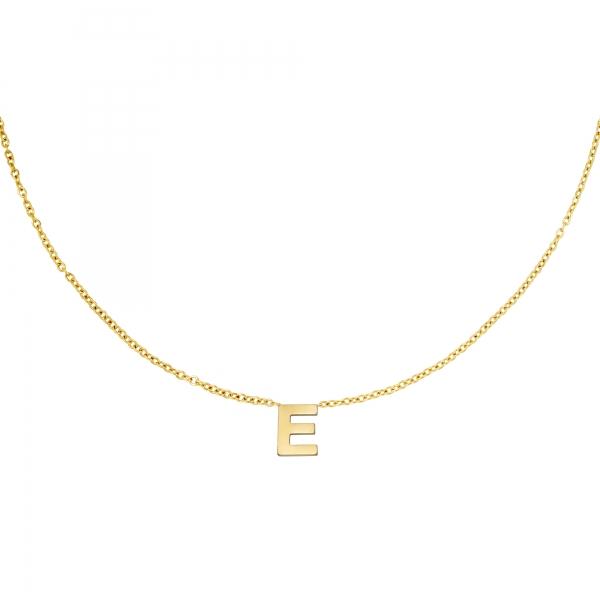 Edelstalen ketting initiaal E