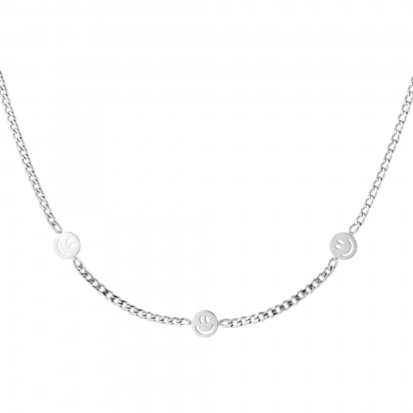 Stainless steel necklace with three smiley charms