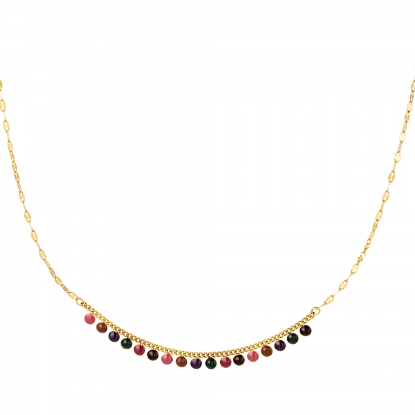 Stainless steel necklace with natural stones