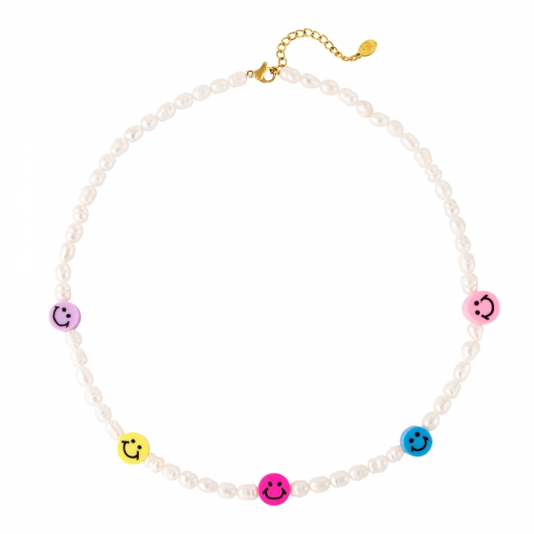 Necklace with beads and smiley faces
