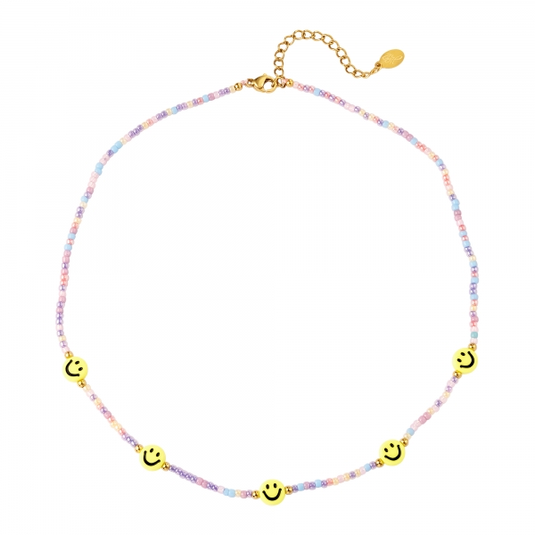 Beaded necklace with smileys