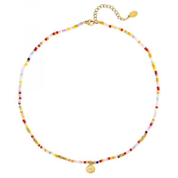 Collier de perles colorées avec smiley