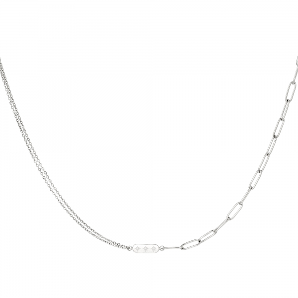 Stainless Steel Necklace with Double Chain and Charm