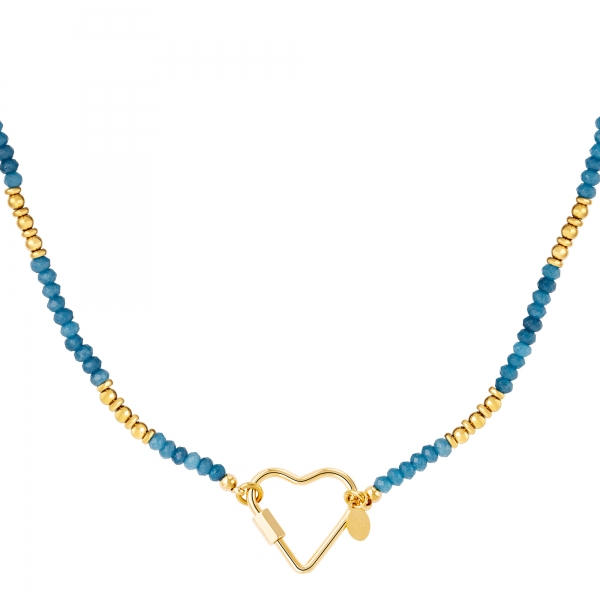 Stainless steel necklace with stones and heart