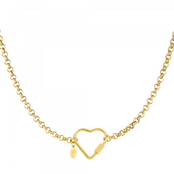 Stainless steel necklace heart closure