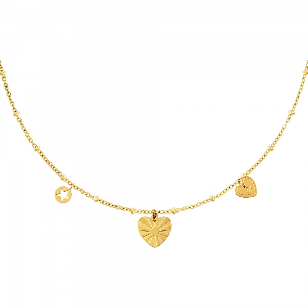 Stainless steel necklace hearts