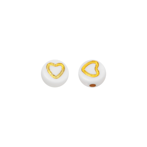 Diy flat beads heart outlined - 7.4mm