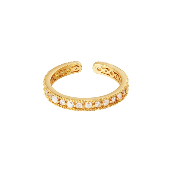 Gold plated ring with zircon stones