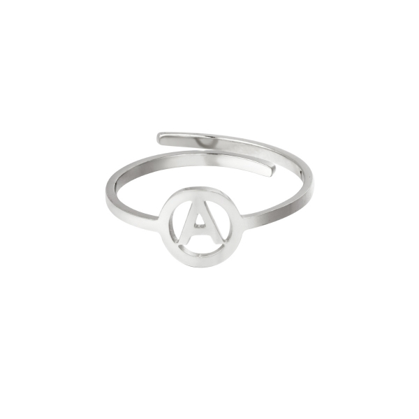 Stainless steel ring initial A