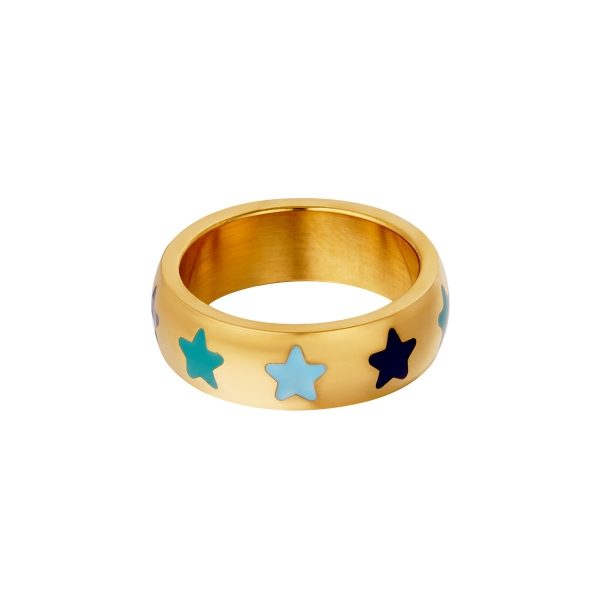 Stainless steel ring with stars