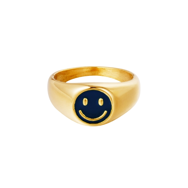 Stainless Steel Smiley Rings Colorful