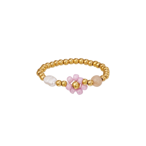 Beaded flower ring with pearl