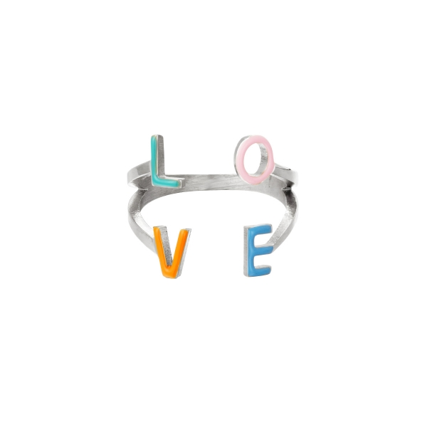 Stainless steel ring Love
