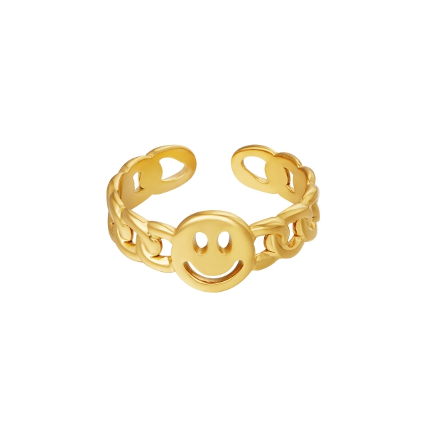 Stainless steel ring smiley