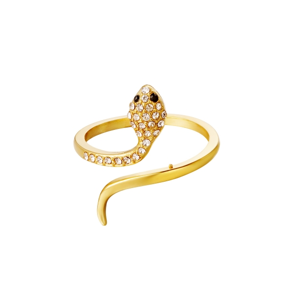 Stainless steel ring snake with zircon detail