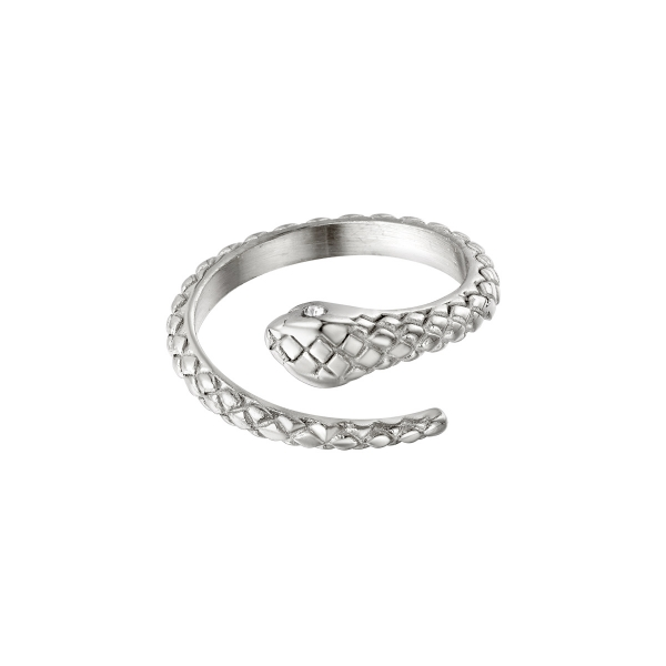 Stainless steel ring snake with zircon stone