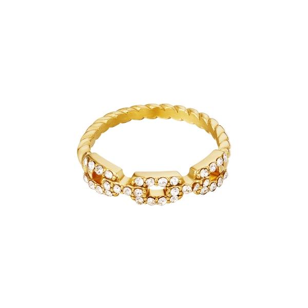 Anillo estilo cadena y diamantes