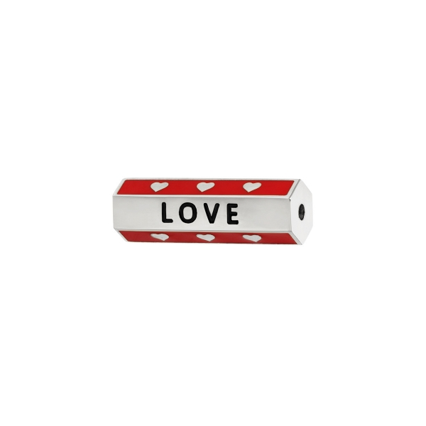 Stainless steel bead red love