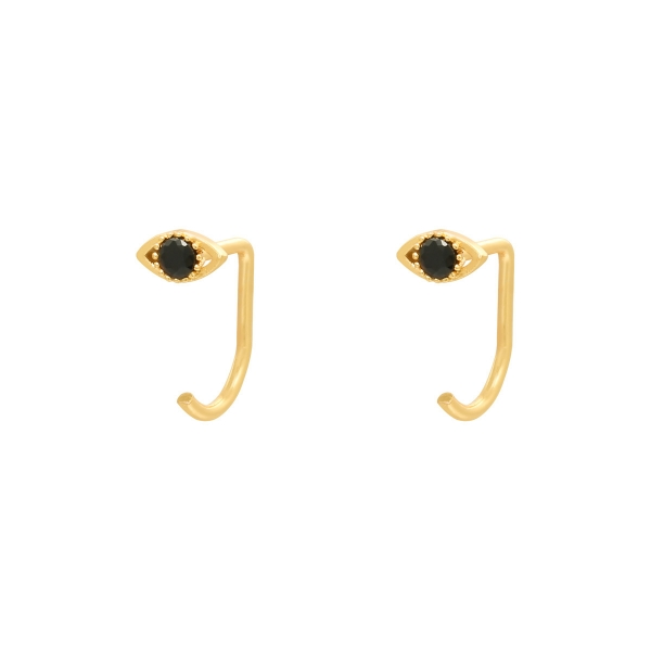 Earrings huggies zircon eye