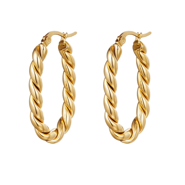 Earrings twisted oval