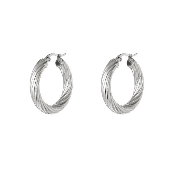Stainless steel twisted hoop earrings
