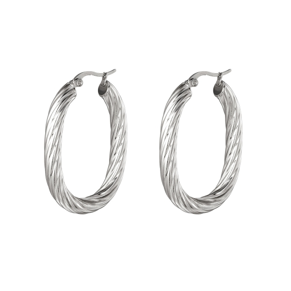 Twisted Oval Stainless Steel Earring
