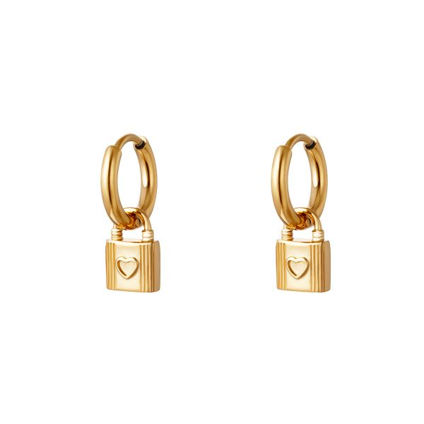 Earrings with lock charm