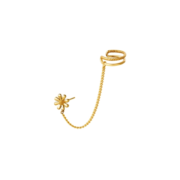 Edelstahl Ohrmanschette Blume