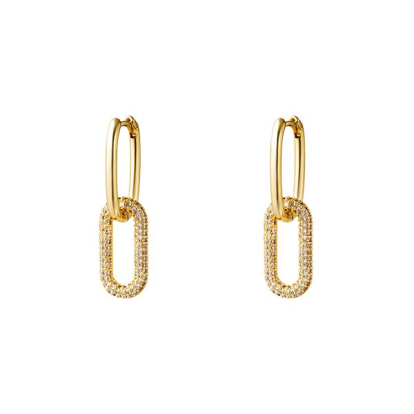 Gold colored copper linked earrings with zircon stones - small