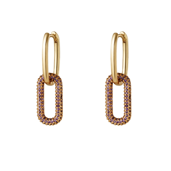 Copper linked earrings with zircon stones - Small