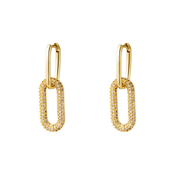 Gold colored copper linked earrings with zircon stones -large
