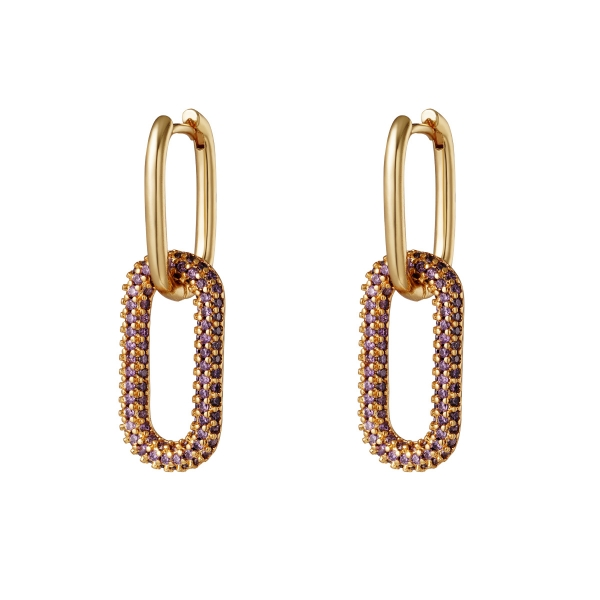 Copper linked earrings with zircon stones - Large