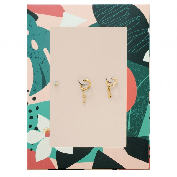 Earrings text love mom and zircon stone gold
