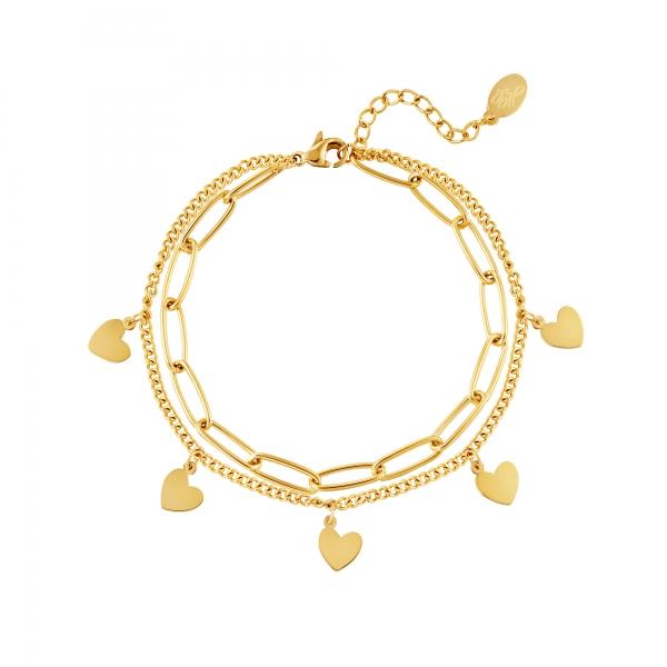 Bracelet Chain Heart Gold