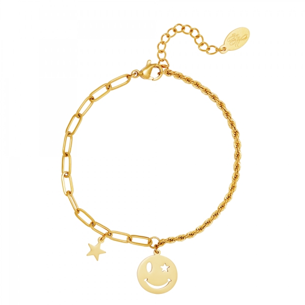 Stainless steel bracelet smiley and star