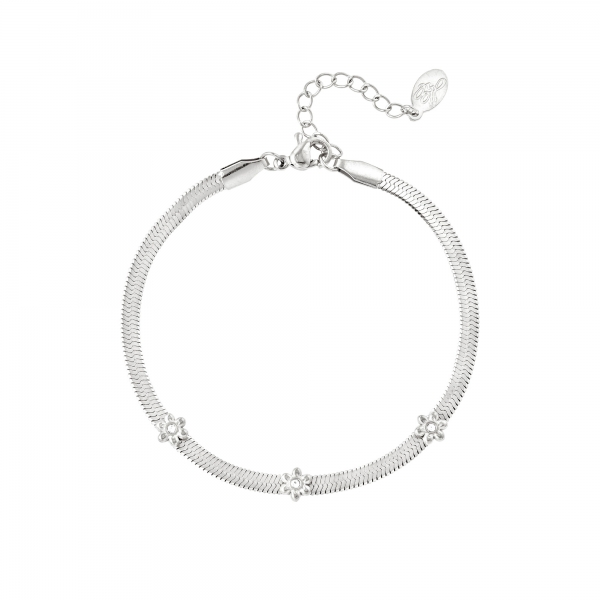 Stainless steel bracelet with little flowers