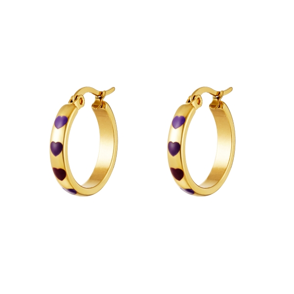 Golden hoops with hearts