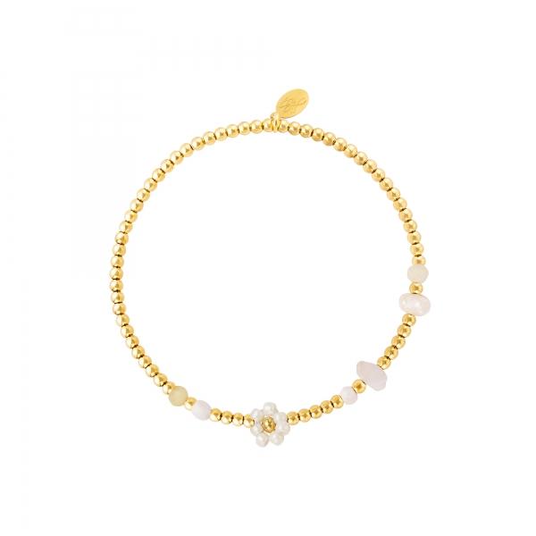 Roestvrij stalen gouden armband bloem