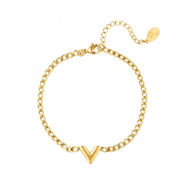 Bracelet acier inoxydable lettre v