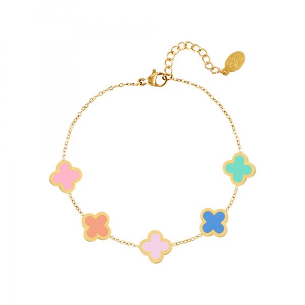 Bracelet trèfles multicolores