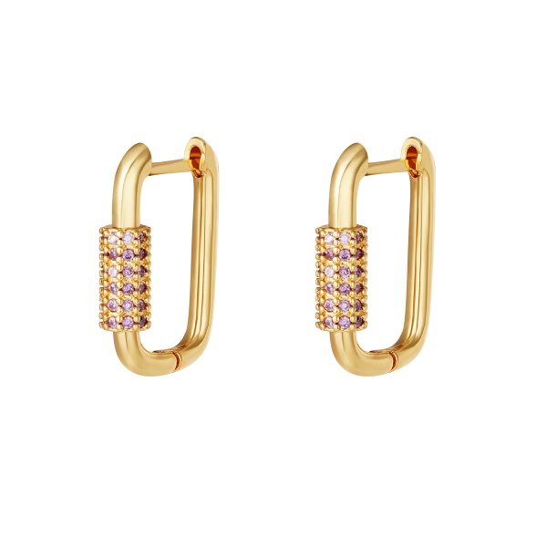 Gold plated earrings with zircon stones