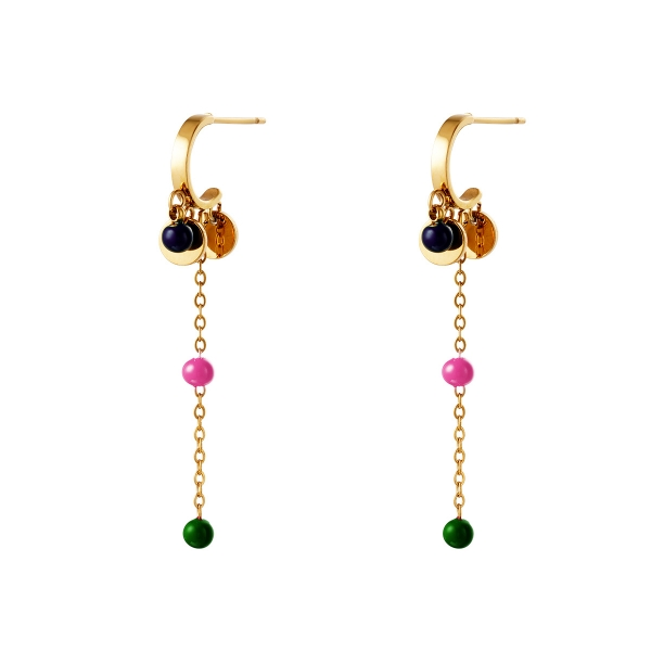 Golden earrings with hanging details