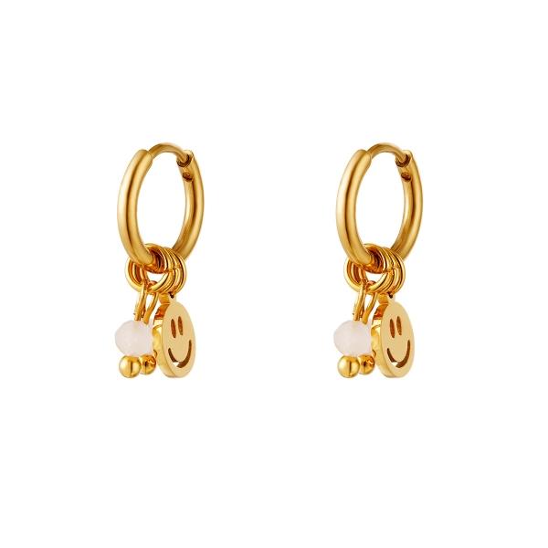 Gouden roestvrijstalen oorbellen smiley & stenen