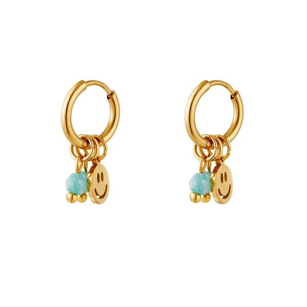 Golden stainless steel earrings smiley & stones